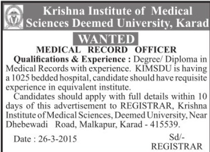Medical Record Officer (Krishna Institute of Medical Sciences University KIMS)