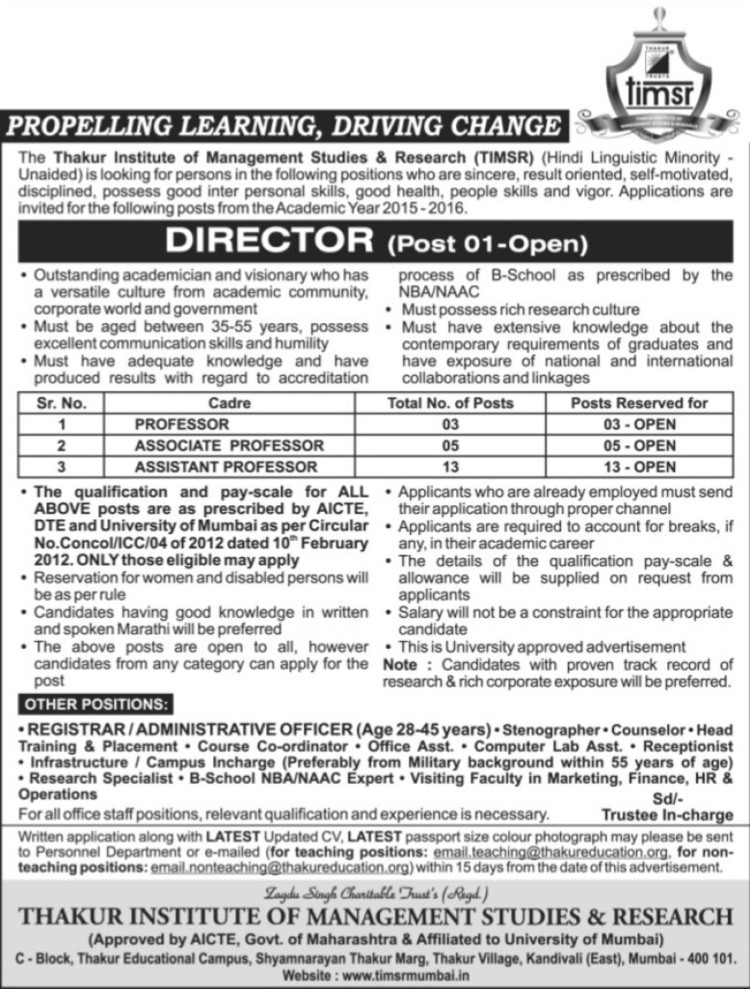Director required (Changu Kana Thakur Institute of Management Studies and Research)