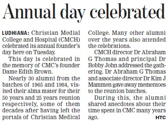 Annual day celebrated (Christian Medical College and Hospital (CMC))