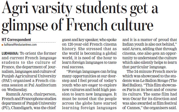 Agri varsity students get a glimpse of French Culture (Punjab Agricultural University PAU)