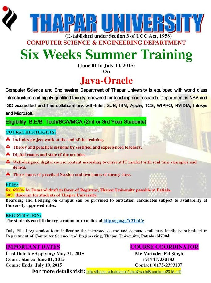 Six weeks summer training on Java Oracle (Thapar Institute of Engineering and Technology University)
