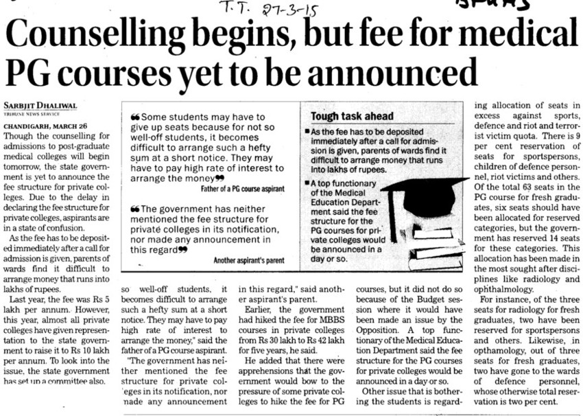 Counselling begins, but fee for medical PG courses yet to be announced (Baba Farid University of Health Sciences (BFUHS))