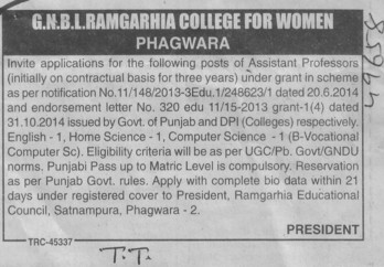 Asstt Professor on contract basis (GNBL Ramgarhia College for Women)
