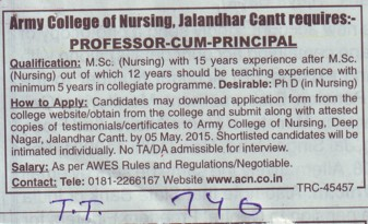 Professor cum Principal (Army College of Nursing)