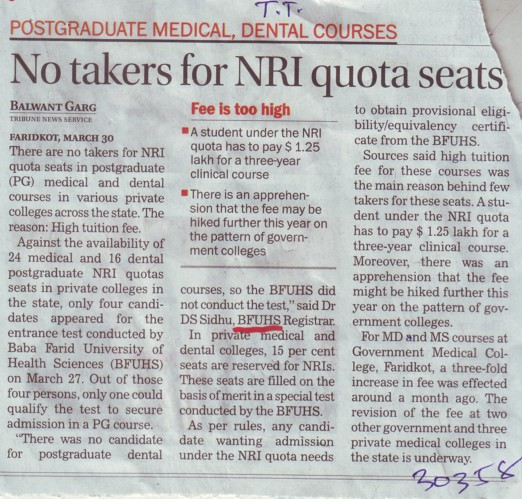 No takers for NRI quota seats (Baba Farid University of Health Sciences (BFUHS))