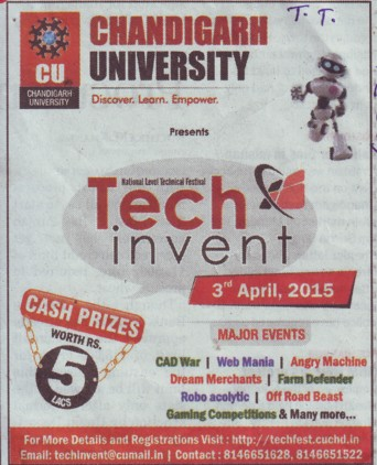 Students presents Tech invent 2015 (Chandigarh University)
