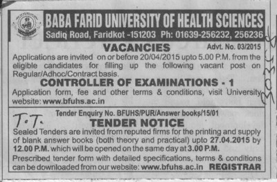 Controller of Examination (Baba Farid University of Health Sciences (BFUHS))