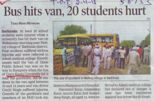 Bus hits van, 20 students hurt (Guru Kashi University)