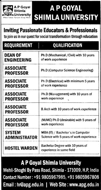 Associate Professor and Hostel Warden (APG Shimla University)