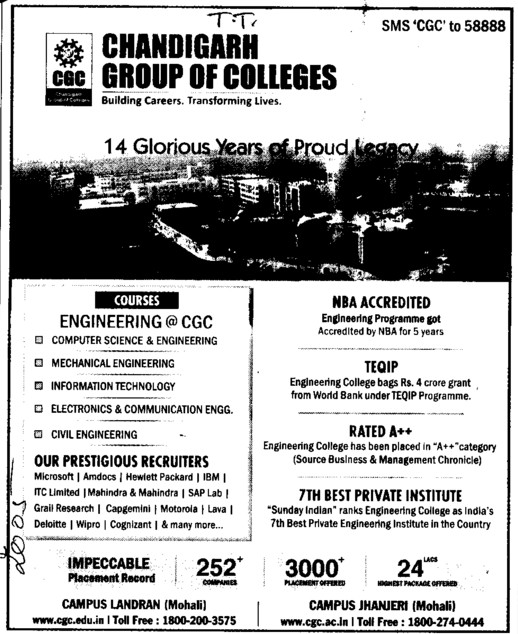 B Tech in EE, CE, ME and IT (Chandigarh Group of Colleges)