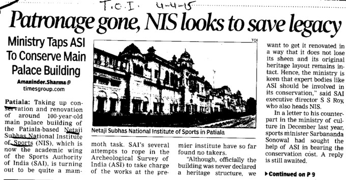 Patronage gone, NIS looks to save legacy (Netaji Subhas National Institute of Sports (NIS))