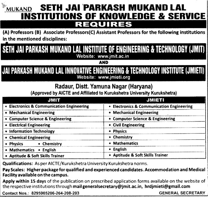 Asstt Professor for Mechanical Engineering (Seth Jai Parkash Mukand Lal Institute of Engineering and Technology (JMIT))