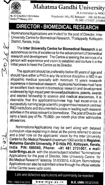 Director for Biomedical Research (Mahatma Gandhi University)