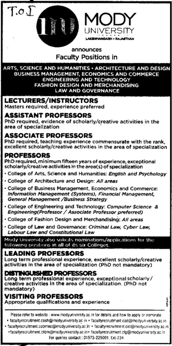 Leading Professor (Modi University of Science and Technology (MITS))