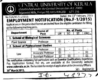 Associate Professor (Central University of Kerala)