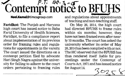 Contempt notice to BFUHS (Baba Farid University of Health Sciences (BFUHS))