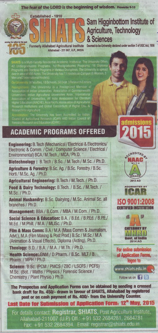 B Tech in Electrical Environment (Sam Higginbottom Institute of Agriculture Technology & Science SHIATS)