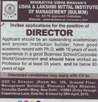 Director required (Bhavan Usha And Lakshmi Mittal Institute of Management (BULMIM))
