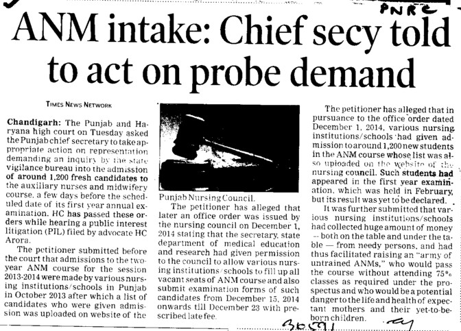 Chief secy told to act on probe demand (Punjab Nurses Registration Council PNRC)