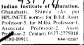 Asstt Professor for M Ed (Indian Institute of Education (IIE) Ghanahatti)