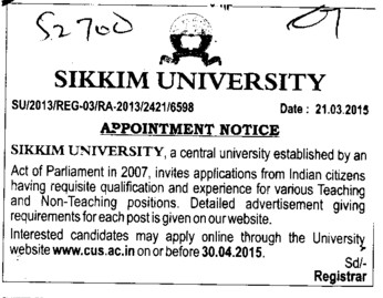 Sikkim University Recruitment 2016 at sikkimuniversity.ac.in ...
