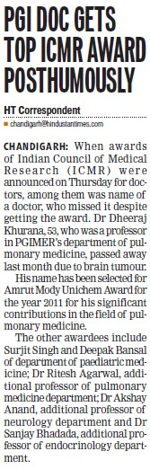 PGI doc dets top ICMR award posthumously (Post-Graduate Institute of Medical Education and Research (PGIMER))