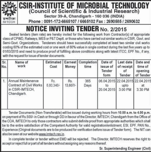 Maintenance of civil works (Institute of Microbial Technology (IMTECH))