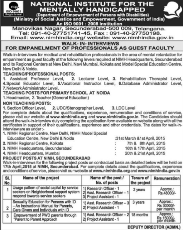 Asstt professor and Section Officer (National Institute for the Mentally Handicapped (NIMH))