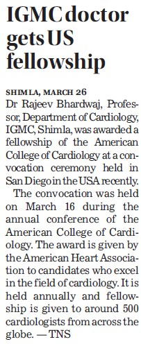 IGMC doctor get US fellowship (Indira Gandhi Medical College (IGMC))