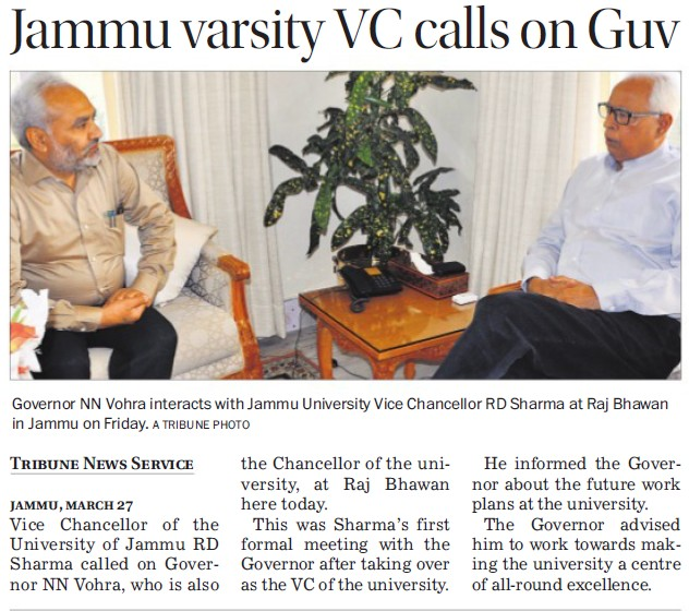 Jammu varsity VC calls on Guv (Jammu University)