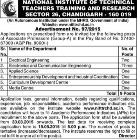 Associate Professor for applied science (NITTTR)