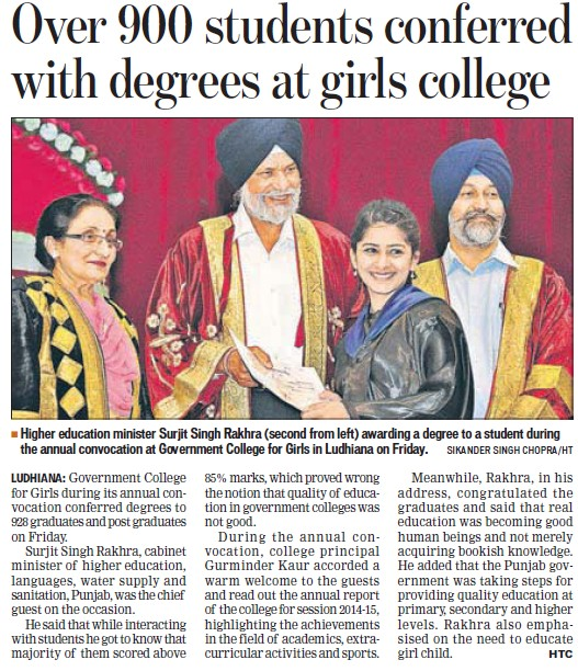 900 students conferred with degrees (Government College for Women)