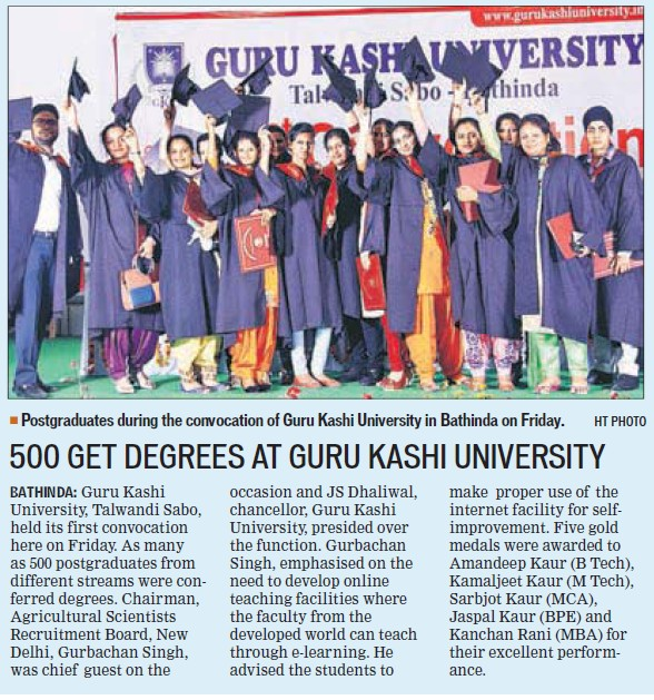 500 get degrees at GKU (Guru Kashi University)