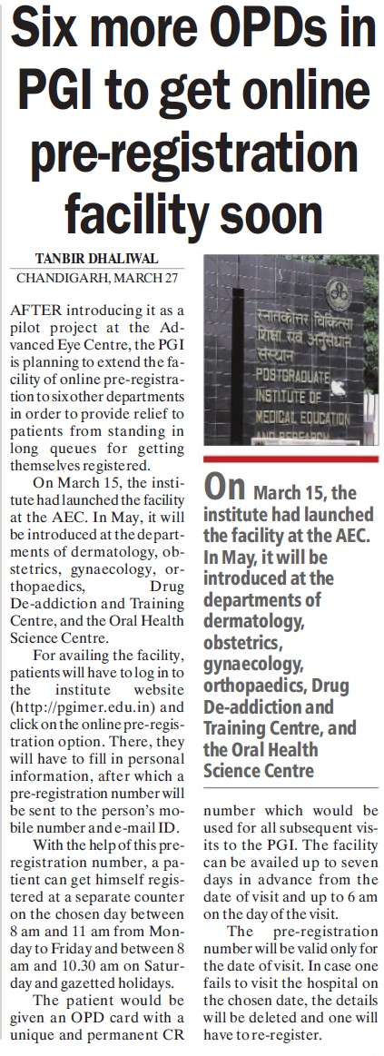 Six more OPDs in PGI to get online pre registration facility (Post-Graduate Institute of Medical Education and Research (PGIMER))