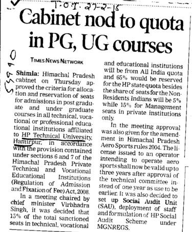 Cabinet nod to quota in PG courses (Himachal Pradesh Technical University HPTU)