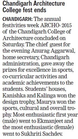 Chandigarh Architecture college fest ends (Chandigarh College of Architecture)