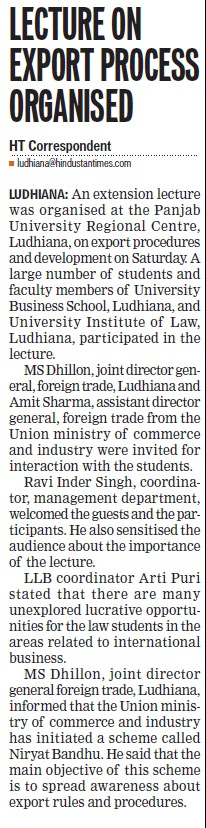 Lecture on export process organised (Panjab University Regional Centre)