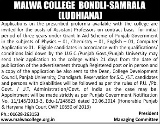 Asstt Professor on contract basis (Malwa College Bondli)