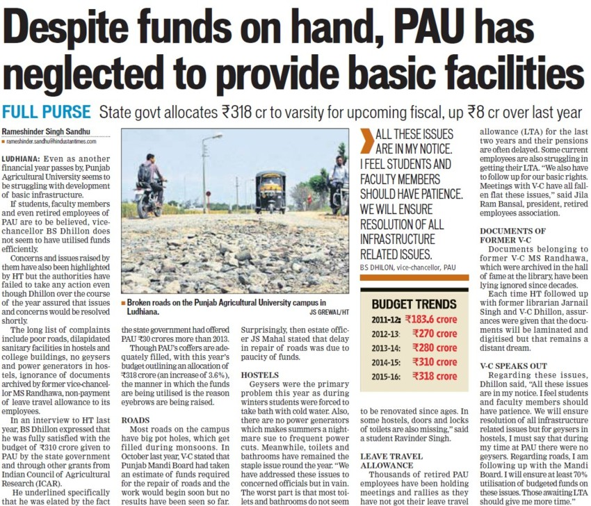PAU neglected to provide basic facilities (Punjab Agricultural University PAU)