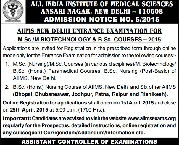 MSc Biotechnology Exam 2015 (All India Institute of Medical Sciences (AIIMS))
