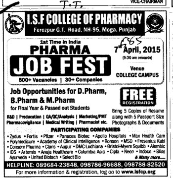 Mega job fest held (ISF College of Pharmacy)