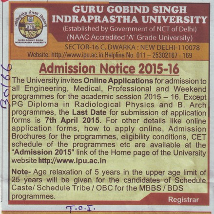 Medical and Professional Programme (Guru Gobind Singh Indraprastha University GGSIP)