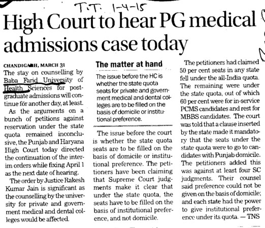HC to hear PG medical admissions case today (Baba Farid University of Health Sciences (BFUHS))