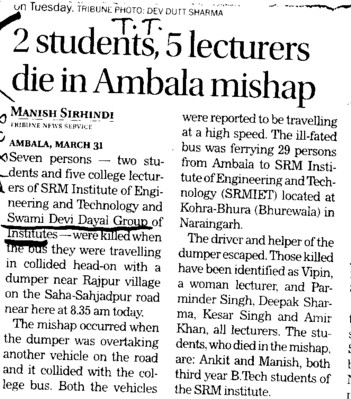 Two students five lecturers die in Ambala mishap (Swami Devi Dyal Group of Professional Institutes)