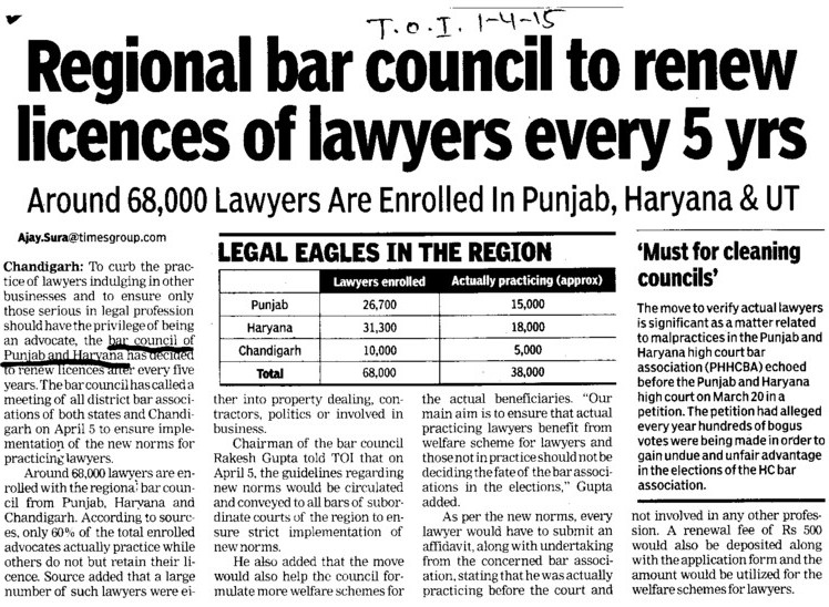 Regional bar council to renew licences of lawyers every 5 yrs (Bar Council of Punjab and Haryana)