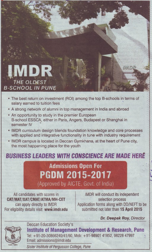 institute of management development and research pune poona  post graduate diploma in financial management