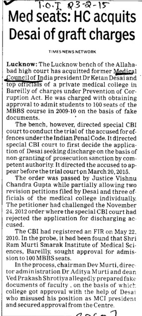 Med seats, HC acquits Desai of graft charges (Medical Council of India (MCI))