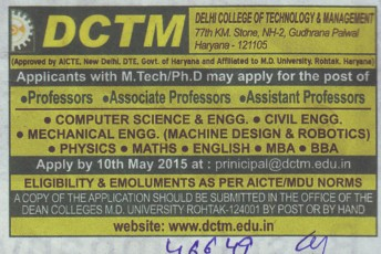 Asstt Professor for computer science (Delhi College of Technology and Management (DCTM))