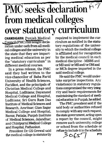 PMC seeks declaration from medical colleges over statutory curriculum (PUNJAB MEDICAL COUNCIL)