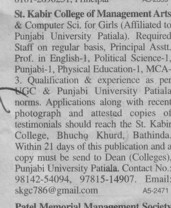 Principal and Asstt Professor for English (St Kabir College of Management, Arts and Computer Science (for Girls only))